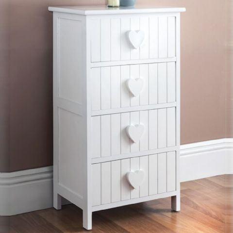 White Heart Tongue & Groove Chest of Drawers
